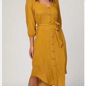 Mustard Button Front 3/4 Sleeve Midi Dress